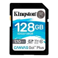 Карта памяти 128Gb - Kingston SDHC 170R C10 UHS-I U3 V30 Canvas Go Plus SDG3/128GB