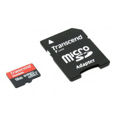 Карта памяти 16Gb - Transcend - Micro Secure Digital HC Class 10 UHS-I TS16GUSDU1 с переходником под SD