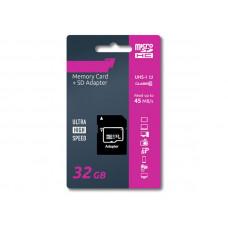 Карта памяти 32Gb - Olmio Micro Secure Digital HC Class 10 UHS-I 39122 с переходником под SD