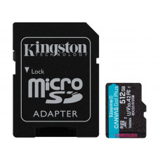 Карта памяти 512Gb - Kingston Canvas Go! Micro Secure Digital HC Class10 UHS-I Canvas Select + SD Adapter SDCG3/512GB с переходником под SD