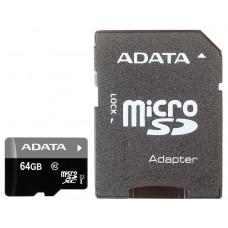 Карта памяти 64Gb - A-Data - Premier Micro Secure Digital XC Class 10 UHS-I AUSDX64GUICL10-RA1 с переходником под SD