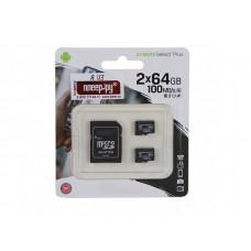 Карта памяти 64Gb - Kingston Micro Secure Digital HC Class10 UHS-I Canvas Select SDCS2/64GB-2P1A с переходником под SD
