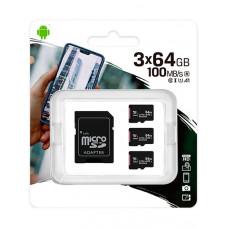 Карта памяти 64Gb - Kingston Micro Secure Digital HC Class10 UHS-I Canvas Select SDCS2/64GB-3P1A с переходником под SD