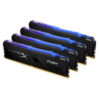 Модуль памяти Kingston HyperX Fury RGB DDR4 DIMM 3200Mhz PC-25600 CL16 - 32Gb Kit (4x8Gb) HX432C16FB3AK4/32