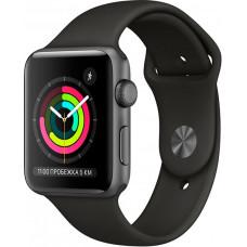 Умные часы Apple Watch Series 3, 42 мм, корпус из алюминия цвета «серый космос», спортивный ремешок черного цвета (MTF32RU/A)