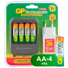 Зарядное устройство + аккумуляторы GP GP270AAHC/HSPBA-2CR4 + USB адаптер