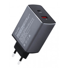 Зарядное устройство Qumo USB+Type-C 1xQC 1xQC/PD Charger 0022 Dark Grey Metal